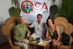 Jane Goodall with Evelyn & David